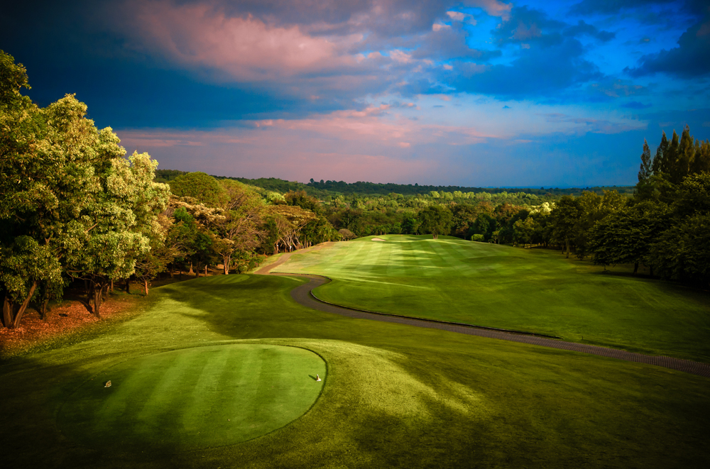 Golf,course,fairway,in,colorful,morning,light