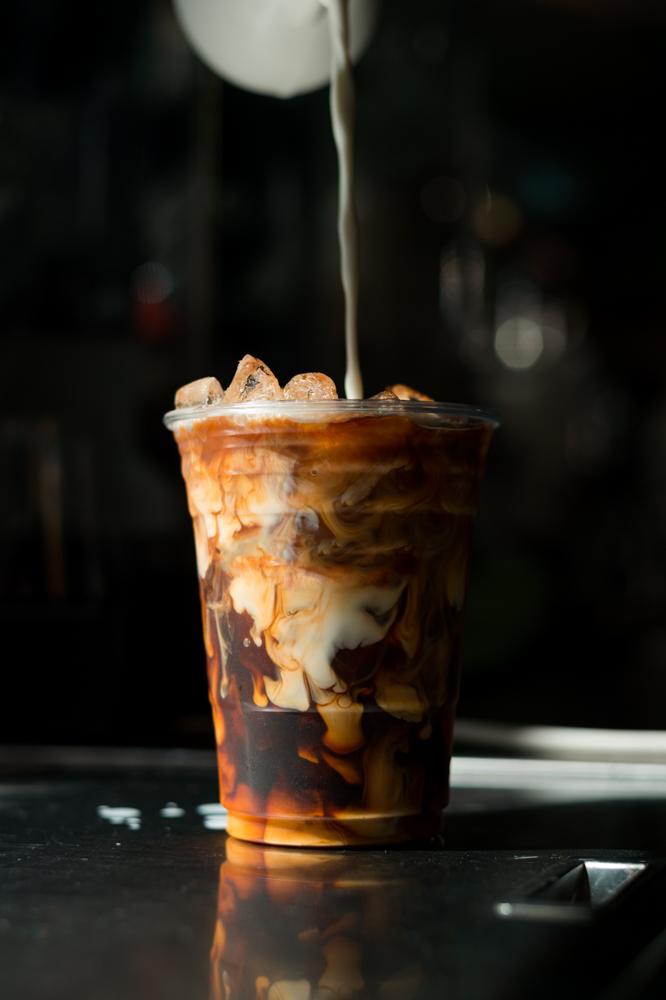 Ice,latte,coffee,in,plastic,glass