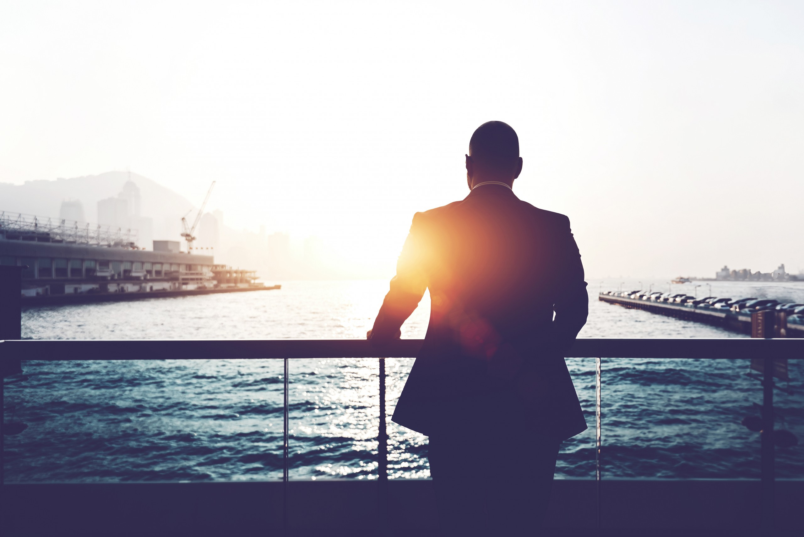 Back,view,of,male,successful,entrepreneur,enjoying,evening,sunset,while